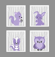 Woodland Animals Soft Purple Squirrel Bunny Skunk by FABBprints
