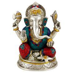 Ganesh Statue with Mosaic Decoration 25 cm Ganesh Statue, Ganesha, Lapis Lazuli, Shiva, Mosaic, Boho, Gifts, Messing, Products