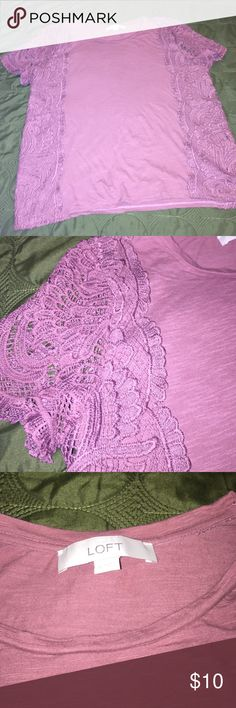 Loft lace tee Cute, soft, lace tee in mauve from loft. Worn twice and just didn't like the fit on me. Great top for Fall with skinny jeans and booties! LOFT Tops Tees - Short Sleeve