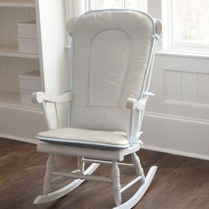 Rocking Chair Pad in Light Blue Linen by Carousel Designs.