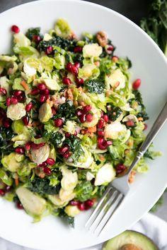 Shredded Brussels Sprout and Kale Salad with Lemon Vinaigrette