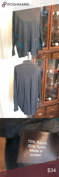 {Lane Bryant} Mockneck ribbed sweater NWOT. Lane Bryant sweater with ribbed fabric and mock neck. Features two color-block stripes. Charcoal. Size 22/24 (marking as 3X for posh sizing). Lane Bryant Sweaters Cowl & Turtlenecks