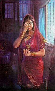 Hindu Lady - People Posters (Reprint on Paper - Unframed) Indian Women Painting, Indian Art Paintings, Ravivarma Paintings, Indian Folk Art, Indian Artist, India Painting, Woman Painting, Bollywood Stars, Art Indien