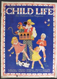 Original cover of Child Life Magazine dated May 1935. Some children and their dog dance around an organ grinder and his monkey.  Artist/Illustrator: Janet Laura Scott.