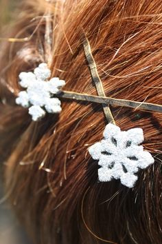 Frosty Pearl Handmade Snowflake Hair Pins  READY TO by catilla, $7.00