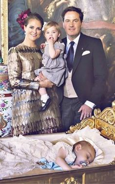 Princess Madeleine with husband Christopher O'Neill and their two children Princess Loenore and Prince Nicolas during his Christening at the Drottngingholm Palace Church in Stockholm, 11 October 2015