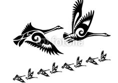Cygne Oies Oiseau Silhoette Noir Animal Themes Amour Dessin Decoration