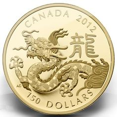 Royal Canadian Mint 2012 Year Of The Dragon gold coin