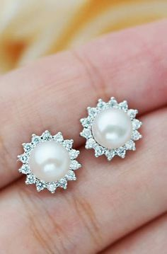 Pearl with Cubic Zirconia detail ear studs from EarringsNation Bridal earrings