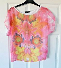 02f8e72302a4c JANE NORMAN Pink Floral Crew Neck Batwing Sleeve Top Size UK 10 #fashion  #clothing