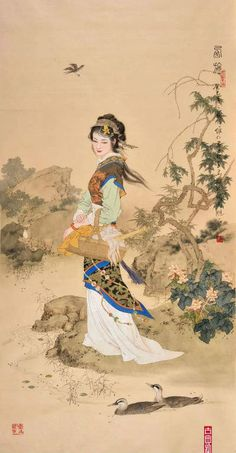 (China) Xi Shi (西施), one of the four ancient beauties by Xiang Weiren (项维仁, ). brush watercolor on silk. Japanese Tattoo Art, Japanese Art, Traditional Paintings, Traditional Art, Asian Artwork, Ink In Water, Art Japonais, Ancient Beauty, Asian History
