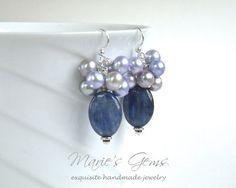 Kyanite Cluster Pearl Silver Earrings Freshwater by MariesGems