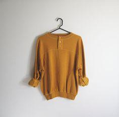 Vintage 80s Mustard Yellow Oversized Sweatshirt - M