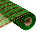 """10"""" Lime Green Laser Red Stripe Deluxe Metallic Deco Poly Mesh"""