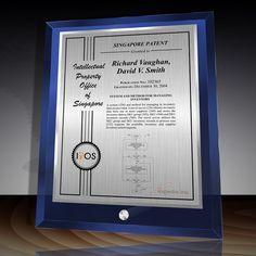 Patent Award - Glass Desk Plaque Blue DG-10EZBu Desk Plaques, Desktop, Glass Desk, Signage Design, Create Your Own, Awards, Layout, Crystals, Prints