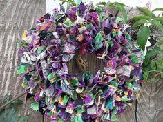 6 Mardi Gras Fun Whimsical Mini Rag Wreath by RagamuffinDesignShop, $20.00