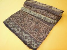 """Laura Ashley Scarf Wool Paisley Pattern Brown Vintage Designer Muffler Foulard Shawl Wrap Made In France 66"""" X 12"""" by InPersona on Etsy"""