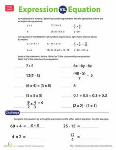 Worksheets: Expression vs. Equation More