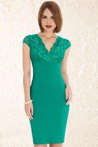 Vintage Chic V Neck Lace Pencil Dress 100 40 15646 1gezicht opgemaakt