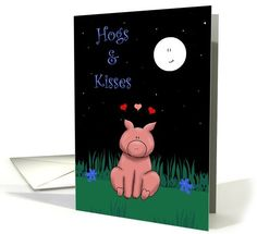 Miss you, Hogs and Kisses, Cute Pig Greeting Card. Hand drawn cartoon finished in Adobe Photoshop.
