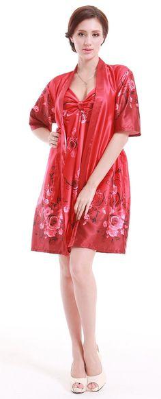 d6c6c5fc183 Amazon.com  Olivery Womens Faux Silk Kimono Robe Knee Length Lingerie  Sleepwear Nightgown - White  Clothing