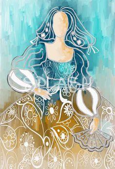 Cuadro menina moderna decorativa turquesa ocre arte SP191 Figure Painting, Art Reference, Abstract Art, Mandala, Sculptures, Cute Animals, Disney Princess, Disney Characters, Creative