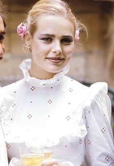Margaux Hemingway - aunt to model Dree - married Erroll Wetson in Paris, June 1975, in a long cotton dresses in classic Seventies Victoriana-revival style, with puff sleeves and a pie-crust collar.