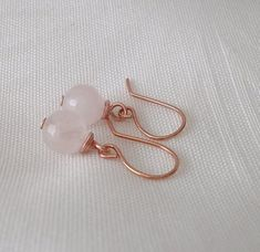 Delicate earrings with faceted rose quartz on ear hook in rose gold color. All metal parts used are nickel-free. The earrings are sent in the Oraganza bag. Rose Gold, Stud Earrings, Etsy, Jewelry, Art, Accessories, Stud Earring, Schmuck, Art Background