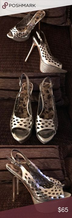 Sam Edelman silver leather cut out 'Myer' heels Gorgeous sling back platform peep toe heels by Sam Edelman upper is 100% leather features cut out design with a pointed peep toe and reptile platform. Don't let the height on these scare you because believe