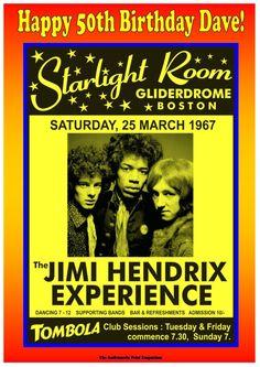 """Jimi Hendrix"" Fantastic Personalised Vintage Concert Poster Greetings Card"