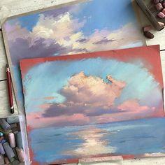 В процессе разработки нового офф-Лайн курса для @kalachevaschool . Куда же без любимой темы облаков :) #пастель #pastelpainting #drypastel #сухаяпастель #небо #облака #pastelsky