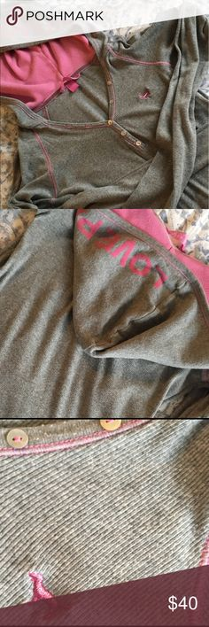 Vintage Pink hoodie This rare Pink hoodie is from when the original Pink line premiered at VS.  This super soft grey hoodie is made from 97% cotton and 3% spandex.  Excellent condition. PINK Victoria's Secret Tops Tees - Long Sleeve