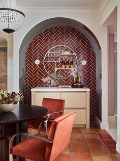 Kips Bay Palm Beach Showhouse Brick Kitchen | Fireclay Tile Mill Valley Kitchen, Herringbone Tile Pattern, Shower Step, Brick Siding, Fireclay Tile, Glass Brick, Thin Brick, Dining Room Inspiration, Tile Patterns