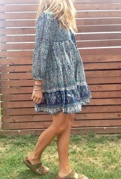 linden dress / blue paired with Birks and it's a winner :)