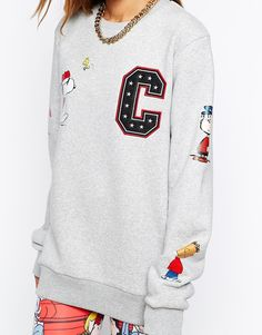 Image 3 of Criminal Damage Oversized Boyfriend Sweatshirt With Snoopy Patch Detail