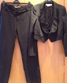 Zara Woman Black White Pinstripe Suit Jacket Trousers Size 10 Perfect Condition
