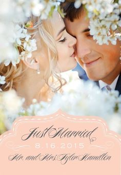 Blush Just Married Wedding Announcement by Anna Griffin   Paper & Pearl