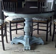 refurbished craisglist kitchen table with annie sloan chalk paint, furniture furniture revivals, painting, Craigslist Table After Espresso stain with Annie Sloan Chalk Paint Louis Blue with Dark Wax by cecelia
