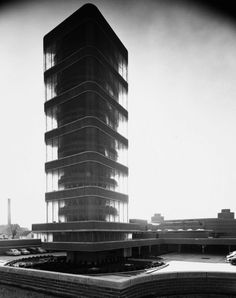 Johnson Wax Tower by architect Frank Lloyd Wright. Taken by Ezra Stoller. 1950.