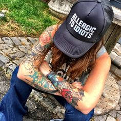 A Wildflower original, ALLERGIC TO IDIOTS mesh snap back trucker hat. FINAL SALE