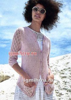 Розовый летний жакет с ажурными рукавами. Вязание спицами