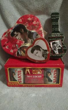 Elvis Presley Russell Stover collectable candy tin storage NIB & coffee mugs