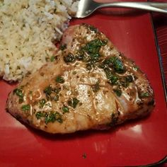 "Marinated Tuna Steak I ""First time Tuna eater here. LOVED this recipe! I've heard Tuna can be very dry. This was very simple and inexpensive to make. Baked Tuna Steaks, Tuna Steak Recipes, Quick Recipes, Asian Recipes, Healthy Recipes, Asian Foods, Tasty Videos, Food Videos"