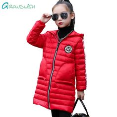 Grandwish Girls Thin Hooded Down Coats Letter Print Long Outerwear for Children Kids Soft Jackets for Teens Girls 3T-12T,TC118  #xxl #vintage #black #colors #new #comfortable #hot #white #xl #warm