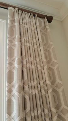 Pinch pleated Drapery Panels on traverse rod. Dining Room Curtains, Living Room Drapes, Living Room Decor Colors, Glam Living Room, Dining Rooms, Sliding Door Window Treatments, Window Coverings, Drapery Panels, Curtains With Blinds