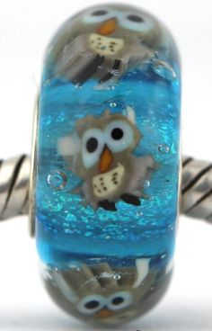 OWLS  fits Pandora and Trollbeads bracelets artisan murano glass charm bead. Cored with sterling silver. Made by glass artist Mandy Ramsdell
