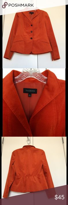 🍂TALBOTS Velveteen Blazer🍁 🍁Like New! Soft & Velvety! Beautiful Pumpkin color Blazer from Talbots. No Visible flaws. Pics1-4&7 show true color. Pics5-6: Underarms approx 18in, Length approx 24in. Purchased from Talbots Store. Perfect for Autumn! 🍂MAKE AN OFFER🍂 Talbots Jackets & Coats Blazers