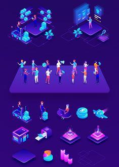 Isometric Ecommerce and Online Shopping — Illustrations on Web Design Icon, Web Design Inspiration, Ad Design, Isometric Art, Isometric Design, Cyberpunk City, Data Visualization, Art Logo, Marketing Digital