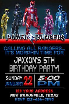 Power Rangers Invitation 4x6 5x7