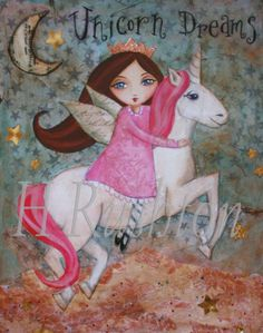 Unicorn Decor Children's DecorUnicorn Art  Mixed by HRushtonArt, $14.00